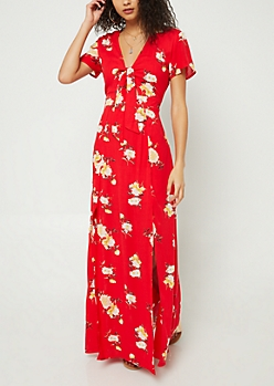 Red Floral Print Knotted Maxi Dress