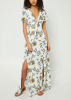 White Floral Lemon Print Knotted Maxi Dress