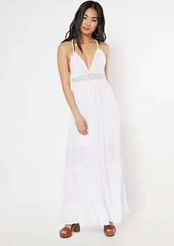 White Crochet V Neck Ruffle Maxi Dress