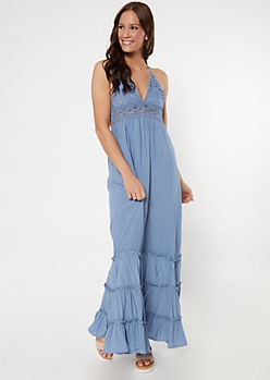 Blue Crochet V Neck Ruffle Maxi Dress