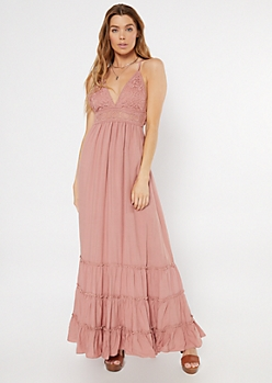 Pink Crochet V Neck Ruffle Maxi Dress