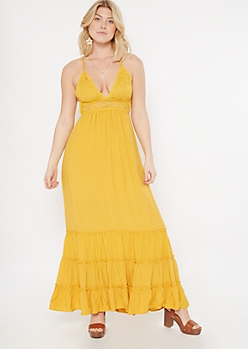 Yellow Crochet V Neck Ruffle Maxi Dress