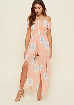 Peach Floral Print Smocked Maxi Romper