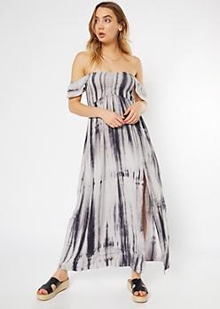 4130d62bf Gray Tie Dye Flutter Sleeve Side Slit Maxi Dress