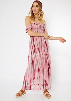 8679a1b599ae9 Pink Tie Dye Flutter Sleeve Side Slit Maxi Dress