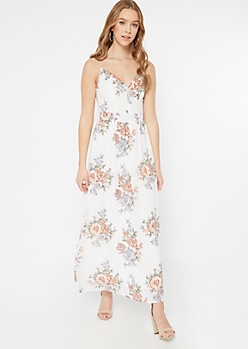 Ivory Floral Print Lace Back Maxi Dress