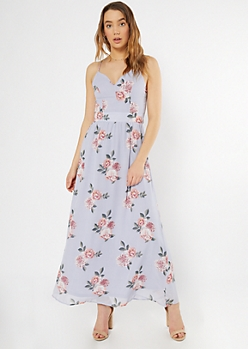 Blue Floral Print Lace Back Maxi Dress