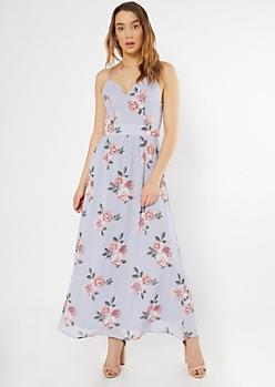 Blue Floral Print Lace Back Maxi Dress