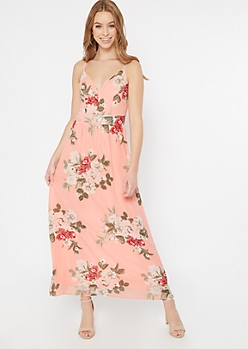 Pink Floral Print Lace Back Maxi Dress