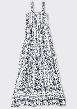 White Floral Striped Smock Maxi Dress
