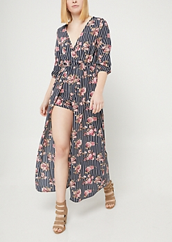 Navy Floral Print and Striped Maxi Romper