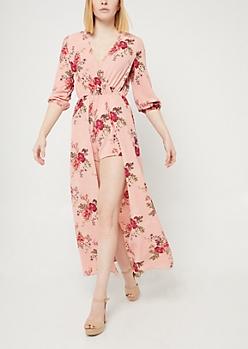 Pink Floral Print Maxi Romper