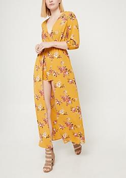 Dark Yellow Floral Print Maxi Romper