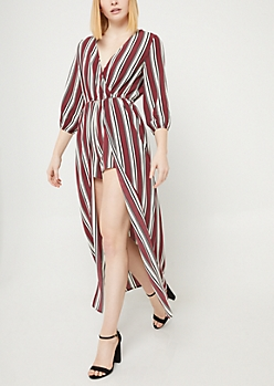 Maroon Striped Maxi Romper
