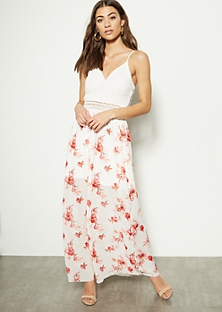 Ivory Floral Print Lace Crochet Maxi Dress