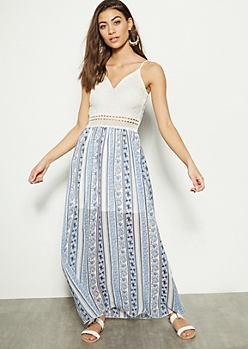 Blue Floral Print Lace Crochet Maxi Dress