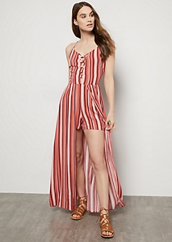 Coral Striped Caged V Maxi Romper