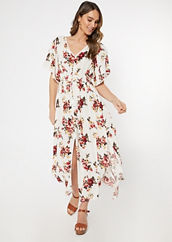 Ivory Floral Print Button Down Versatile Maxi Dress