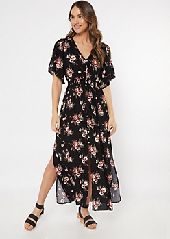 Black Floral Print Button Down Versatile Maxi Dress