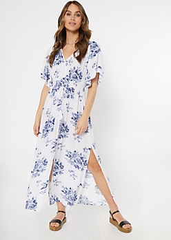 White Floral Print Button Down Crochet Maxi Dress