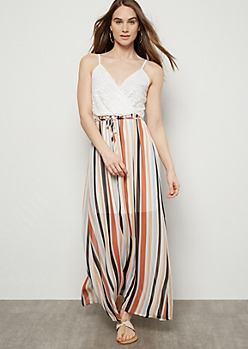 Coral Striped Lace Top Maxi Dress