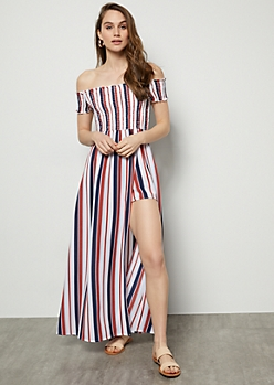 White Striped Smocked Maxi Romper