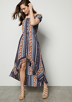 Navy Border Print Flounce High Low Maxi Dress