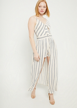 Ivory Striped Pattern Tie Front Maxi Romper