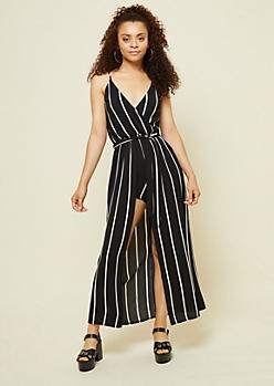 Black Striped Pattern Cami Strap Maxi Romper