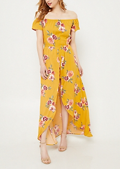 Yellow Floral Print Short Sleeve Off Shoulder Maxi Romper