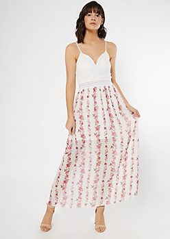 Ivory Rose Print Crochet V Neck Maxi Dress