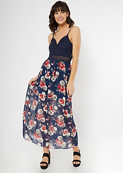 Navy Rose Print Crochet V Neck Maxi Dress