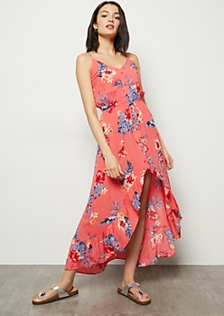 Coral Tropical Print Ruffle High Low Maxi Dress