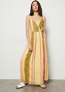 Yellow Striped Surplice Chiffon Maxi Dress