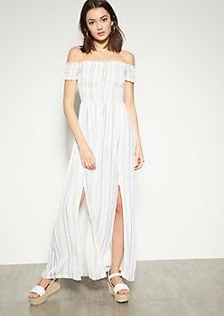 Blue Striped Off The Shoulder Side Slit Maxi Dress