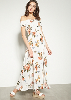 White Floral Print Off The Shoulder Side Slit Maxi Dress