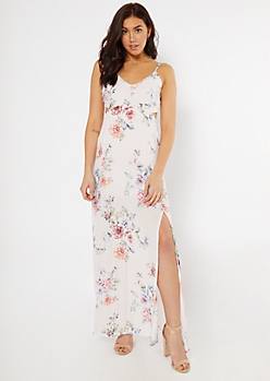 Light Pink Floral Print Cutout Maxi Dress