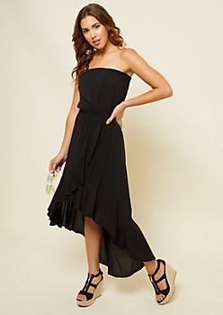 Black Strapless High Low Ruffled Dress