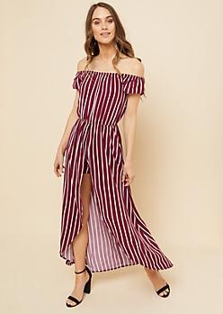 Burgundy Striped Pattern Off Shoulder Maxi Romper