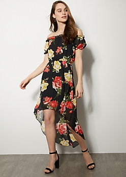 Black Floral Print Off The Shoulder High Low Maxi Dress