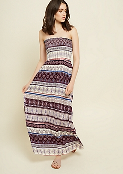 Purple Border Print Strapless Maxi Dress