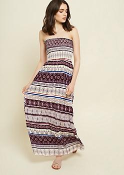 Purple Border Print Strapless Maxi Dress