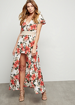 068afd28fcd White Floral Print Crochet Maxi Romper