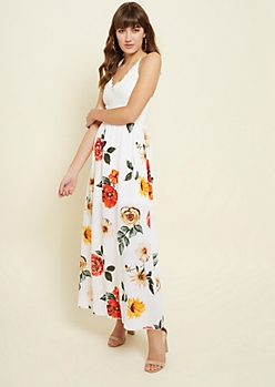 Ivory Lace Floral Print Maxi Dress