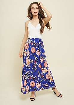 Royal Blue Lace Floral Print Maxi Dress