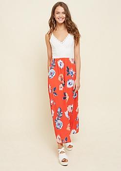 Coral Lace Floral Print Maxi Dress