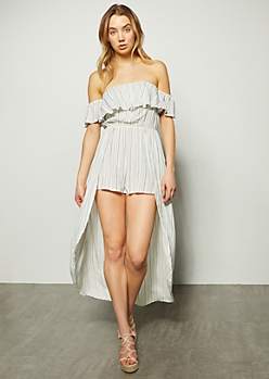 White Striped Off The Shoulder Flounce Maxi Romper