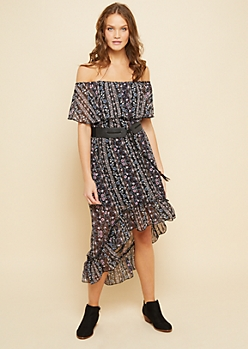 Black Floral Print Off Shoulder High Low Belted Dress