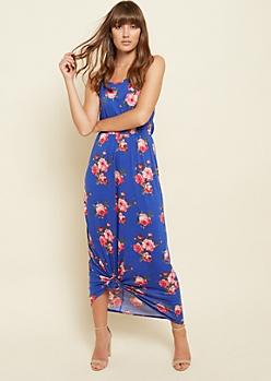 Blue Floral Print Maxi Cami Dress