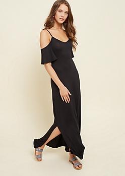 Black Cold Shoulder Maxi Dress